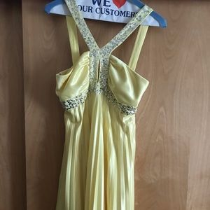 Yellow sequin and beaded mini dress